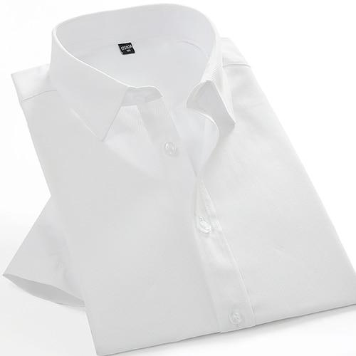 Men's Short Sleeve Solid Twill Basic Dress Shirt Comfortable Soft Formal Male Business Regular-fit White Work Office Top Shirts-cgabuy