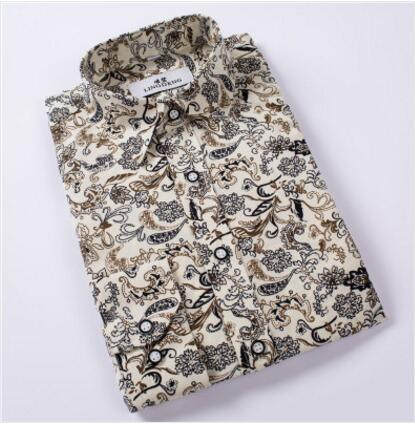 Hot Sale Size: M-4XL / 2018 New Fashion Floral Print Slim Fit Shirts Men's Long Sleeve Casual Dress Shirts 15 Colors-cgabuy