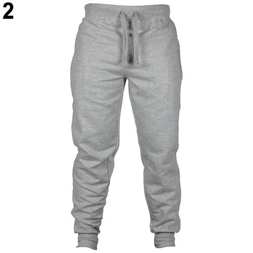 Men Fashion Solid Casual Drawstring Long Pants Trousers Sweatpants-cgabuy