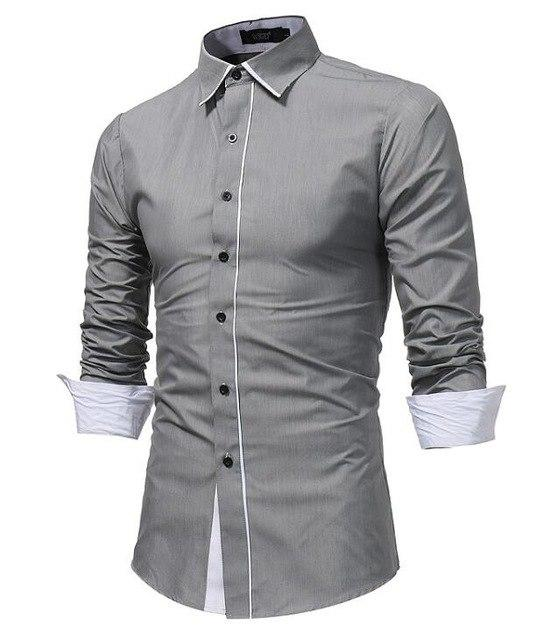 2018 New Men Shirt Spring Long Sleeve Turn-Down Brand Solid Dress Shirts Casual Man Shirts Regular Slim Fit Male Cotton Button-cgabuy