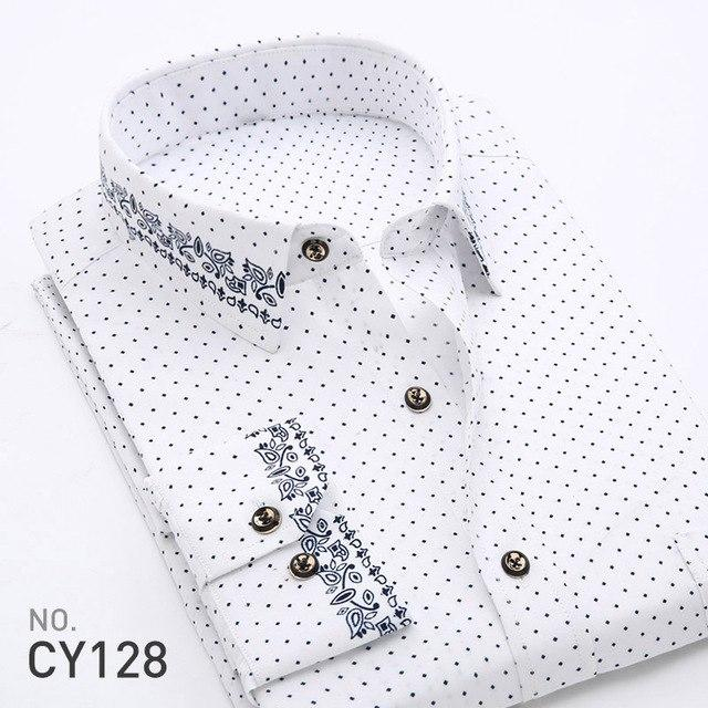 2018 Spring Floral Print Men Shirts Long Sleeve Mens Casual Shirt Slim Men Flower Printing Dress Shirts camisa masculina-cgabuy