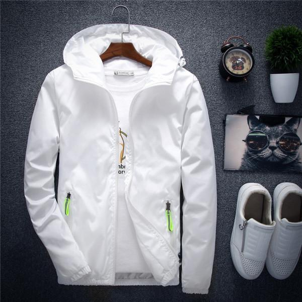 New Spring Autumn Casual Solid Windbreaker Jacket Men/Women Hooded Thin Zipper Coat Slim Fit Outwear Hip Hop Jacket Male 6XL 7XL-cgabuy