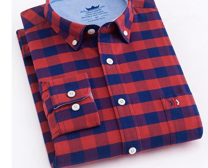 2018 New Brand Shirs Men Plaid 100% Cotton Shirt Warm Fashion Male Long Sleeve Casual Shirt Men Young Dress Shirts Plus 4XL X621-cgabuy