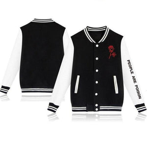 BTS Casual Dress People Are Poison Rose Sleeve Print Jacket Baseball Uniform-cgabuy