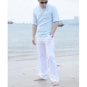 New Men's pants Casual Natural Cotton Linen men's trousers White Linen Elastic Waist Straight Mens Pants sweatpants-cgabuy