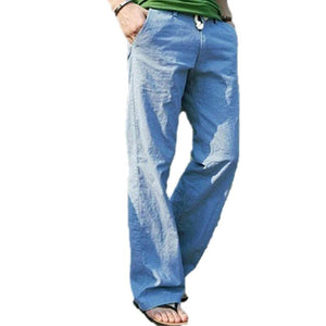 Men's Fashion Casual Loose Drawstring Waist Solid Linen Trousers Beach Pants-cgabuy