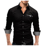2018 Autumn Fashion Shirts Men Casual Brand Clothing Men Shirt Solid Color Long Sleeve Casual Slim Fit Male Shirts M-XXXL-cgabuy