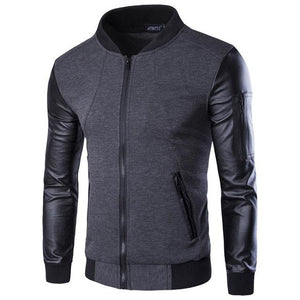 Mountainskin Bomber Jacket Men's Coats Patchwork Leather Men Outerwear Autumn Slim Fit 2018 Brand Male Motorcycle Jackets SA003-cgabuy