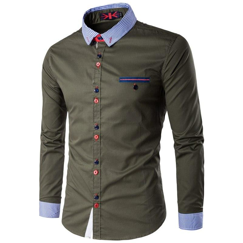 Fashion Unique Button And Neckline Mens Long Sleeve Shirt Business Social Mens Dress Shirts Slim Fit Casual Shirt Men-cgabuy