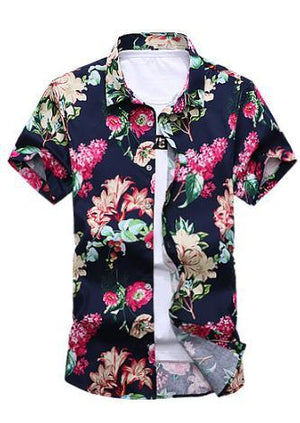 2017 Short Sleeve Shirt Men Summer Fashion Casual Plus Size Mens Floral Shirts High Quality Flower Shirts Mens Social 6XL 7XL-cgabuy
