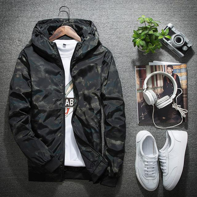 2018 Spring Autumn Mens Casual Camouflage Hoodie Jacket Men Waterproof Clothes Men'S Windbreaker Coat Male Outwear Plus Size 4XL-cgabuy