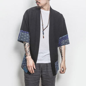 2018 Men Cotton Linen Shirts Men Kimono Traditional Open Stitch Shirt Male Three Quarter Sleeve Shirt Harajuku Mens Clothing 5XL-cgabuy