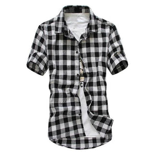 Men Plaid Shirts Casual Teenage Short Sleeve Turn Down Collar Slim Fit Check Shirt Tops-cgabuy