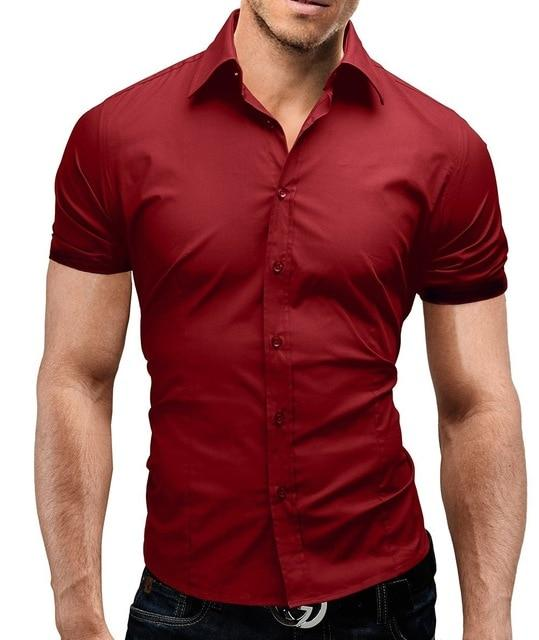 Casual 2018 Fashion Male Shirt Short Sleeves Tops Simple Solid Color Mens Dress Shirts Slim Men Shirt Hawaiian Plus Size XXXL-cgabuy