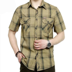 AFS JEEP Brand Army Military Shirt Men 2018 Summer 100% Cotton Plaid Short Sleeve Mens Shirts Plus Size 4XL 5XL Camisa masculina-cgabuy