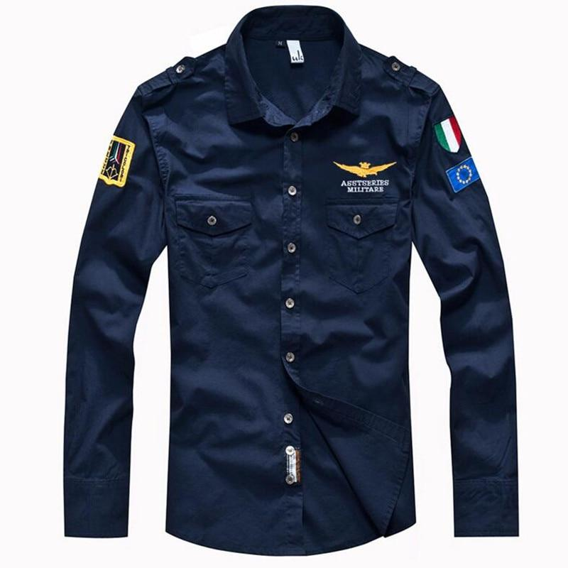 Brand Men's fashion air force long-sleeve loose 100% cotton plus size shirt men military casual shirts M~4XL-cgabuy