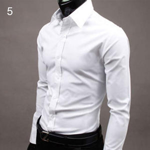 Men Luxury Casual Formal Shirt Long Sleeve Slim Fit Business Shirts Top-cgabuy