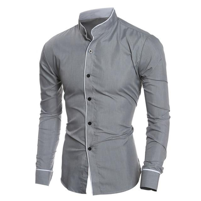 2018 New shirt Men Summer Brand Slim Fit Male Long Sleeve Basic Shirt Blouse Top Size M-2XL camisa masculina Wholesale #FM21-cgabuy