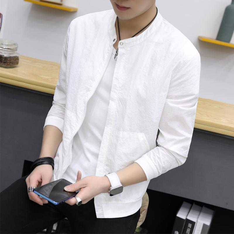 Summer Thin Jackets Men Brand New Slim Fit Stand Collar Bomber Jacket Long Sleeve Solid Sun Protection Clothing Men Coats 4XL-M-cgabuy