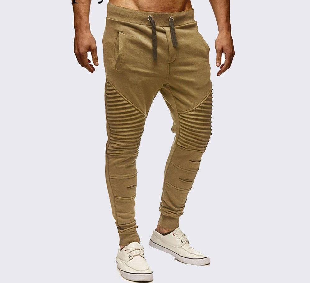 Moomphya Ripped pleated men joggers pants Striped slim pants men Hip hop streetwear sweatpants trousers pantalon homme-cgabuy