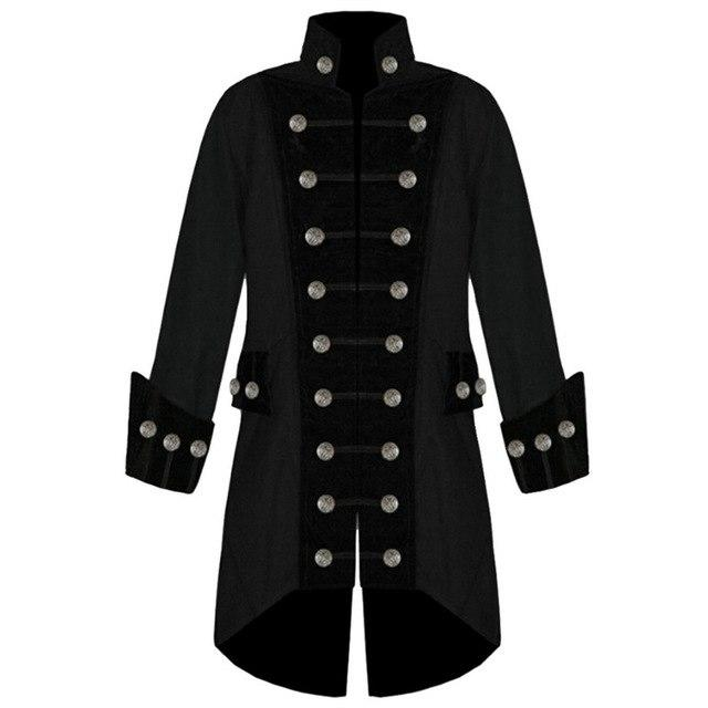 NIBESSER Plus Size Long Sleeve Halloween Trench Men Coat Fashion Velvet Trim Steampunk Men Jacket Vintage Gothic Brocade Jacket-cgabuy