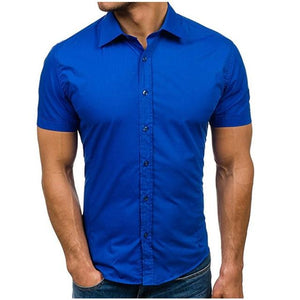 2018 Summer Fashion Male Shirt Short Sleeves Tops Simple Solid Color Mens Dress Shirts Slim Men Shirt Hawaiian Plus Size 5XL-cgabuy