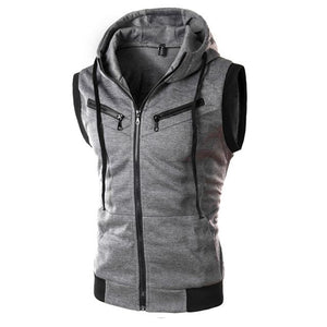 Uniqstore Vest Men Summer Casual Hooded Collarless Vest Solid Color Zipper Sleeveless Vest Sweatshirt Men's Clothing Top-cgabuy