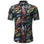 High Quality 2018 Fashion Fit Mens Cotton Short Sleeve Hawaiian Shirt Summer Casual Floral Shirts Men Plus Size Tops M-3XL-cgabuy