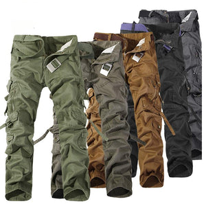 2018 Top Fashion Military Cotton Cargo Pants Men Multi-Pocket Solid Plus Size Trousers Men (Asian Size 28-42)-cgabuy