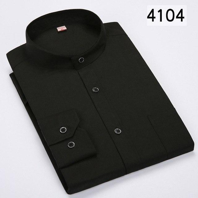 Men's Stand Long Sleeve Shirt Dress Casual Shirt Solid Color Slim Fit Business Male Social Shirts Black Button Design 2018 New-cgabuy