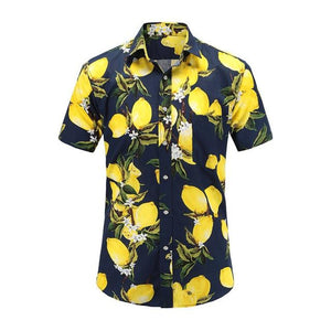 Dioufond Men Casual Shirt Hawaiian Short Sleeve Flower Shirt Men Regular Fit Summer Flamingos Cotton Mens Shirts Plus S-3XL 2018-cgabuy