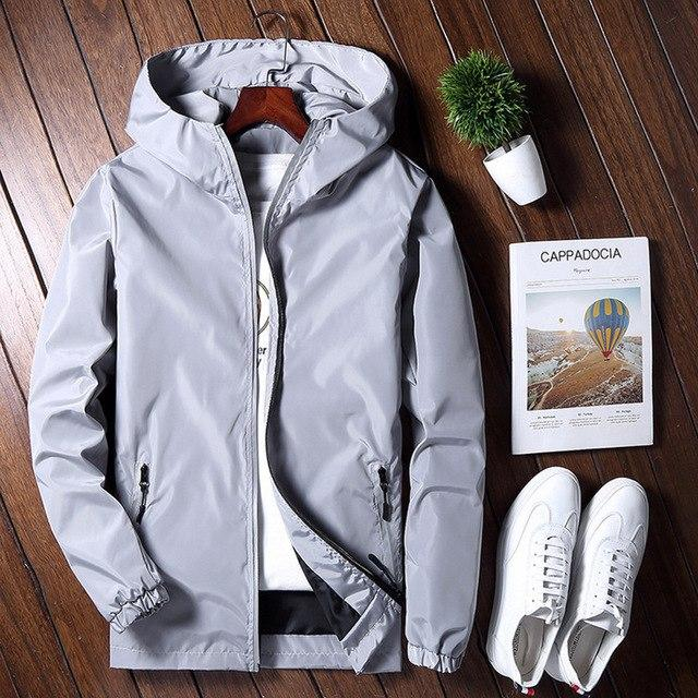 Reflective Jacket Men Spring Autumn Mens Reflective Jackets College Men's Windbreaker Varsity Coat Male Hooded Wind Breaker-cgabuy