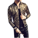 Nightclub Jacket Gold Black Prom Outwear Stage Cloth For Men Spring Summer Jacket Party Bomber Jacket Men Paisley Thin Jacket-cgabuy