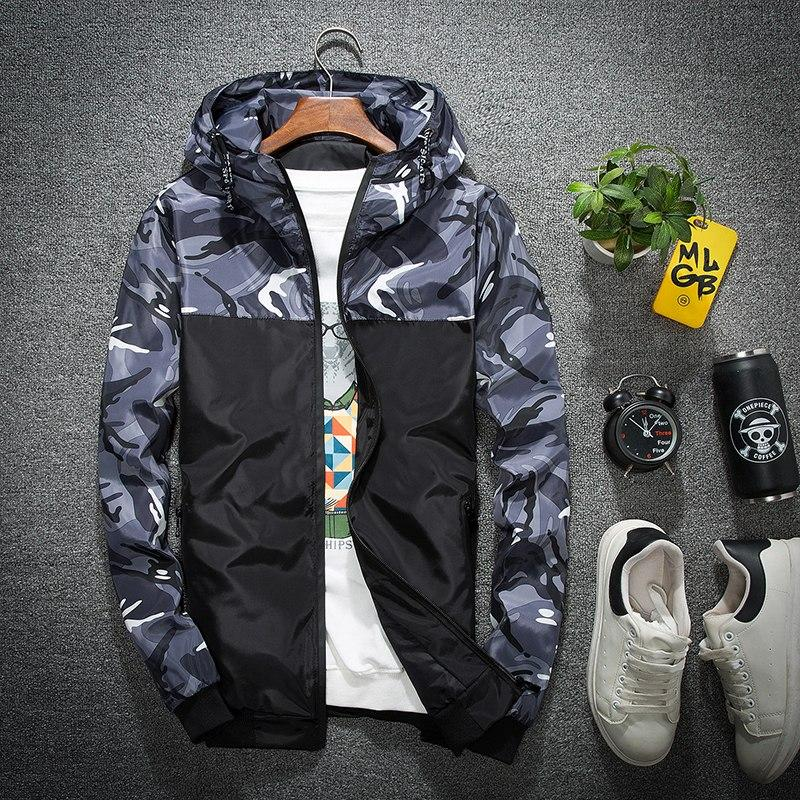 Wholesale Price Windbreaker Zipper Outwear Hooded Brand Clothing Men Bomber Jacket Thin Slim Long Sleeve Camouflage Coats M-5XL-cgabuy
