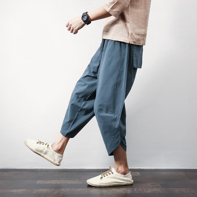 Sinicism Store Cotton Linen Mens Harem Pants Summer Male Casual Calf-Length Pants 2018 Solid Big Pocket Baggy Pants Trousers-cgabuy