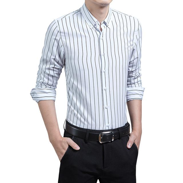 New Spring Autumn Fashion men's clothing Slim Fit male long-sleeved shirt stripe Casual business Work Shirt Social Plus size 5XL-cgabuy