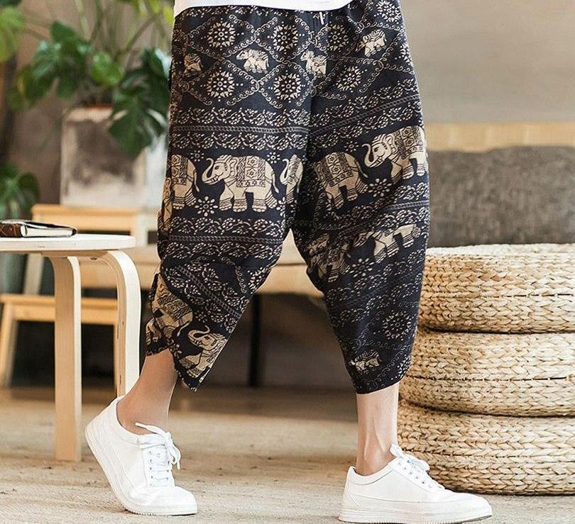 KUANGNAN Chinese Casual Pants Men Ankle-Length Cotton Linen Jogger Pants Men Streetwear Men Pants Loose Trousers 2018 Summer-cgabuy