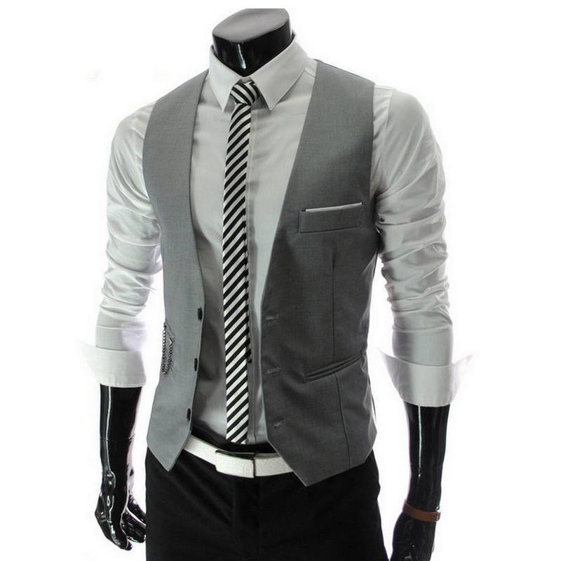2018 New Arrival Dress Vests For Men Slim Fit Mens Vest Male Waistcoat Gilet Homme Casual Sleeveless Formal Business Jacket-cgabuy