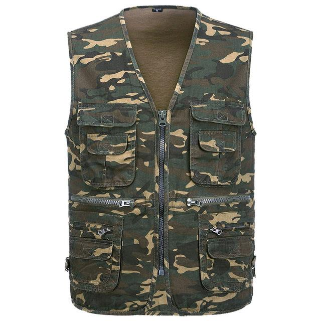 2018 Men's Multi-functional pocket Camouflage Vest Men Sleeveless Casual Cotton Jackets Male Camo Waistcoat Brand Clothing-cgabuy