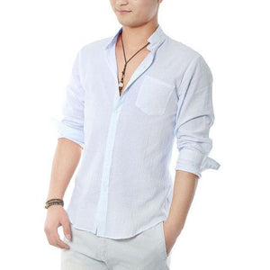 Zecmos Social Grandad Chinese Mandarin Collar Shirt Men Casual Shirt High Quality Cotton Linen Shirt-cgabuy