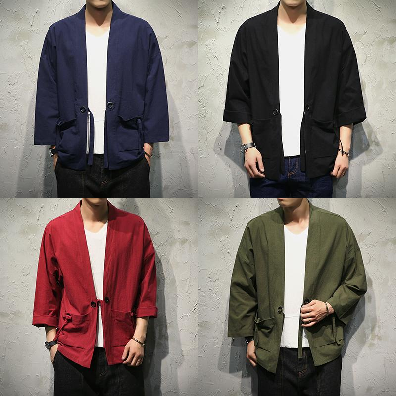 Sinicism Store Mens Jacket Coat Summer Kimono Cardigan Coat Japan Vintage Windbreaker With Belt Male Jackets Clothes 2018-cgabuy