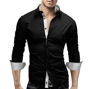 Men Shirt 2018 New Brand Men Solid Color Threshold Dress Shirt Long Sleeve Slim Fit Camisa Masculina Casual Male Hawaiian Shirts-cgabuy