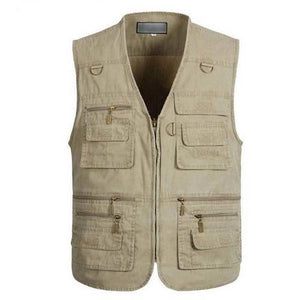 2018 Men's Clothing Fashion Casual Waistcoats Military Vest Jackets High Quality Loose Cotton Tops gilet Vests Many Pockets-cgabuy