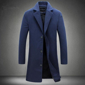 Left ROM 2018 New Mens Fashion Boutique Solid Color Business Casual Long Section Woolen Coats Men High End Brand Leisure Coats-cgabuy