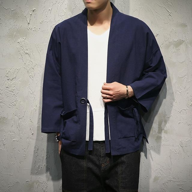 Sinicism Store Cotton Linen Shirts Men Kimono Traditional Open Stitch Shirt Belt Pocket Male Three Quarter Sleeve Shirt Harajuku-cgabuy