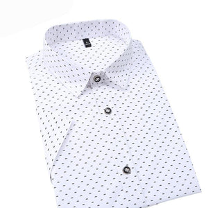 Hot 2018 Summer New Fashion Brand Clothing Men Short Sleeve Shirt Polka Dot Slim Fit Shirt 100% Cotton Casual Shirts Men M-5XL-cgabuy