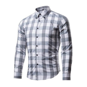 NIBESSER Formal Dress Plaid Men Shirts Business Masculina Shirts Long Sleeve Classic Camisa Shirt Casual Slim Fit Chemise Homme-cgabuy