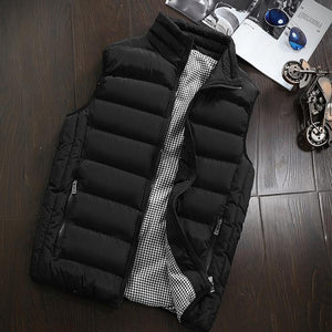 Casual Vest Men Autumn Winter Jackets Thick Vests Man Sleeveless Coats Male Warm Cotton-Padded Waistcoat men gilet veste hommes-cgabuy