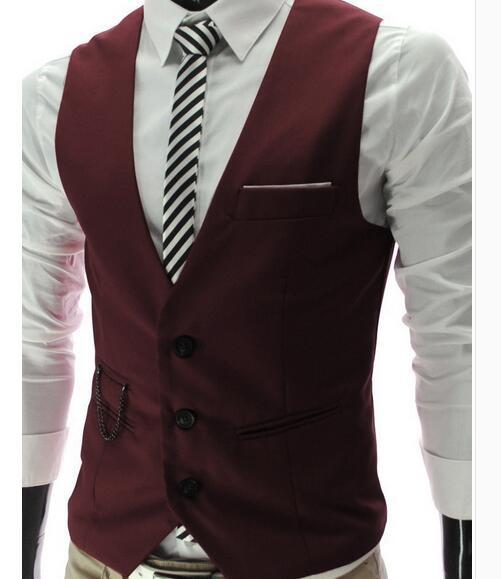 New High Quality Dress Vests For Men Slim Fit Mens Suit Vest Male Waistcoat Gilet Homme Casual Sleeveless Formal Business Jacket-cgabuy