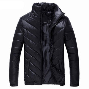 2018 New Winter Mens Coat Thin Outerwear 100% Cotton Clothing Stand Collar Casual Slim Parkas Solid Jacket B0281-cgabuy
